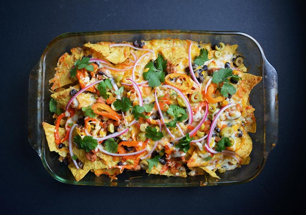 nachos gourmands végétariens épicés