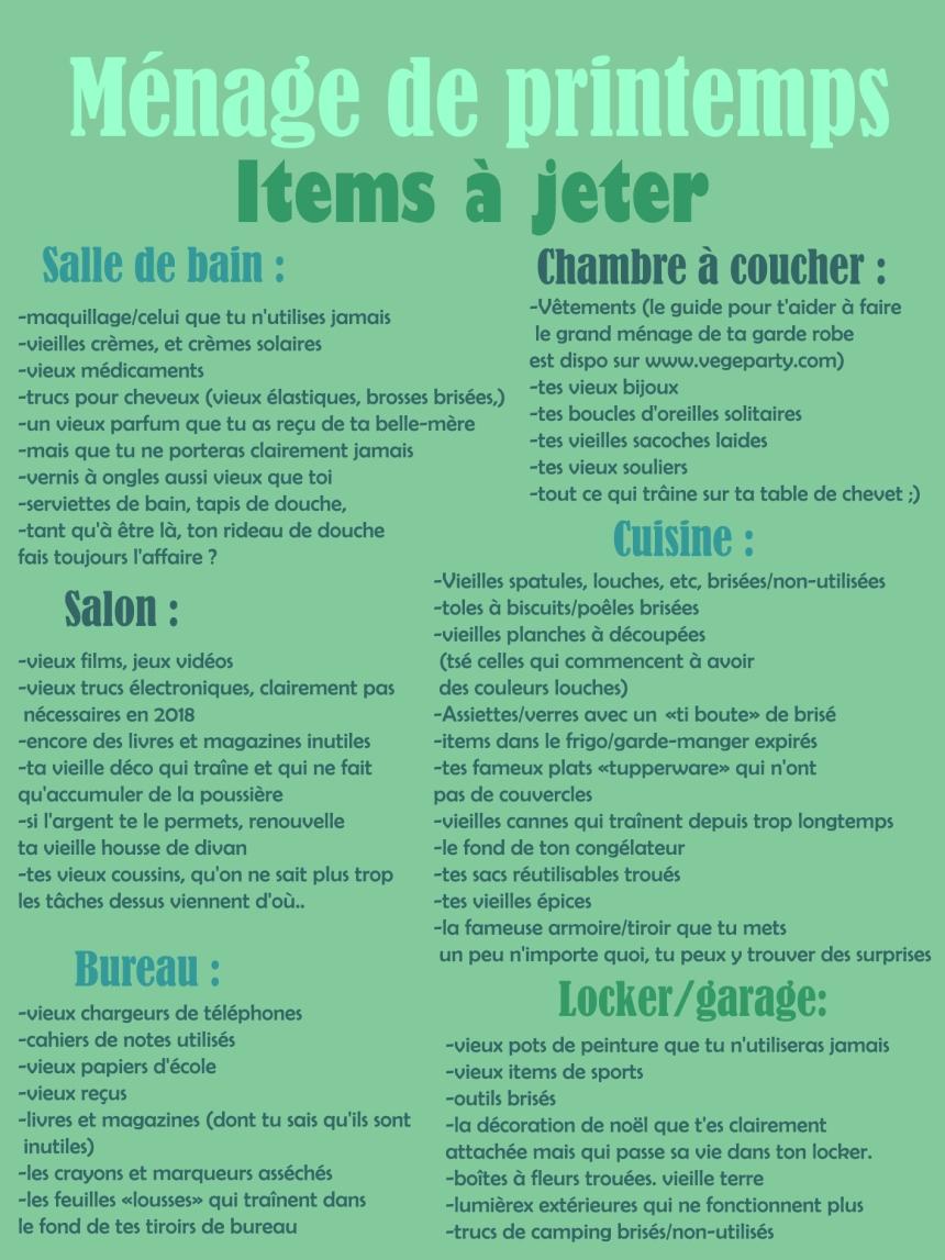 guide ménage printemps items à jeter pièce par pièce
